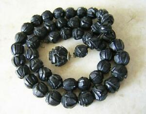 ANTIQUE VICTORIAN WHITBY JET NECKLACE with CARVED ROSEBUD BEADS GOTHIC MOURNING