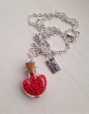 """Ser Mi San Valentín Corazón espolvorear Botella Collar Necklace 24"""" o vacío"""