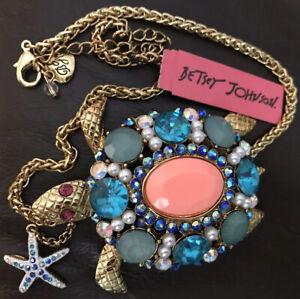 Betsey Johnson Large Turtle Jeweled Necklace
