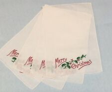 Linen Merry Christmas 6x9 Cocktail Napkins, Set of 4, Hand Embroidered