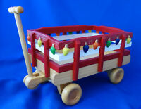 """Christmas decorative wood wagon 10"""" long 6"""" wide with wooden light decoration"""