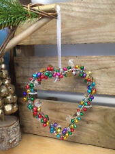 Colourful Beads & Bells Hanging Heart Wreath Christmas Decoration Wedding Favour