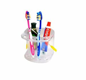 Acrylic Wall Mounted Toothbrush Toothpaste Bathroom Organizer Rack Stand(White)