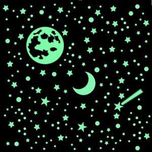 365 Leuchtsterne nachleuchtend m. Mond ⭐ TOP-SET Sternenhimmel weiße d.HP-Folie©