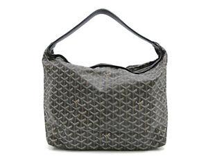 Authentic GOYARD Fidji Shoulder Bag Black Black PVC Leather 93928