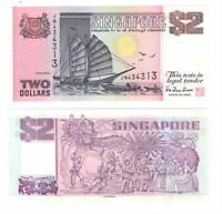 UNC SINGAPORE Pink $2 Dollars Ship Series Banknote (1992) P-28 Paper Money