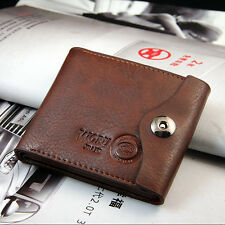 Bifold Business Wallet Men's Leather Brown Credit/ID Card Coin Holder Slim Purse