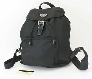 Authentic PRADA Black Nylon and Leather Backpack Bag Purse #40549A