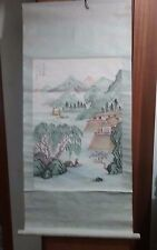 """Asian Paper Scroll Wall Hanging Tapestry 41"""" X 19"""""""