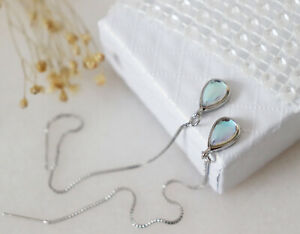 Sterling Silver Rainbow Moonstone Pull Through Threader Dangle Earrings Gift
