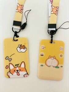 Cute Corgi shaking bum dog funky quirky  ID Case Strap phone lanyard