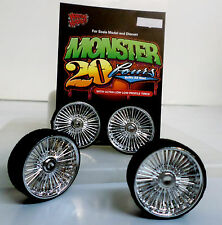 Hoppin Hydros 1/24 MONSTER 24 PLAYAZ Chrome Rims Wheels Low Pro Tires Model Car