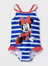 f9583268f6f8a NEW Disney Minnie Mouse Toddler Girls Blue Red White One Piece Swimsuit  Size 4T