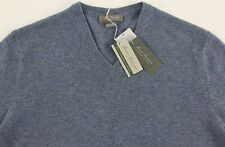 Men's DANIEL CREMIEUX Heather Steel Blue V-Neck CASHMERE Sweater XXL 2XL NWT NEW