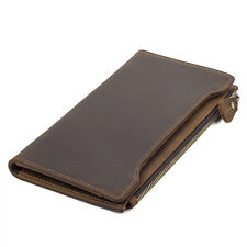 Men Vintage Real Leather Clutch Long Wallet Bifold Large Capaicty Card Holder