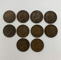 Indian Head Cent Penny Lot of 10 1890-1899 Every Year