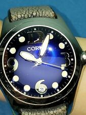 Corum Boutique Bubble Watch Blue Face Leather Men's Jewelry 163.150.20 Swiss WR