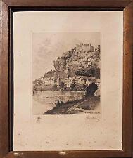 Gravure Pierre F. A. Desbois (1873-1939) - La Dordogne à Beynac