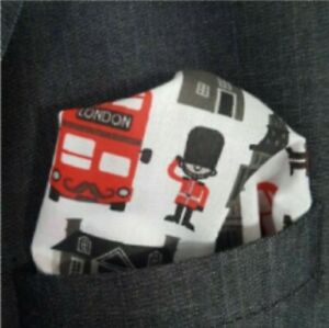 HANDMADE LONDON ICONS RED BUS POCKET SQUARE GIFTS UNDER 5 POUNDS