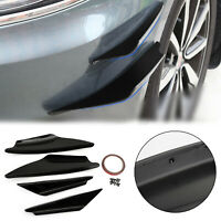 4X Universal Gloss Black Car Front Bumper Fins Body Splitter Spoiler Canards T5