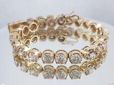 15.50 ct round cut YELLOW gold 14k diamond tennis bracelet K SI2 NOT ENHANCED