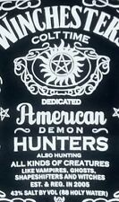 Supernatural Winchester Colt Demon Hunters Jack Daniels Label t shirt M medium