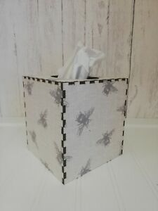 Tissue Box Cover Made W/ Linen Bees Fabric Cube Square Bumble Bees