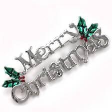Holiday Silver Tone Costume Jewelry Merry Christmas Mistletoe Pin Brooch Winter