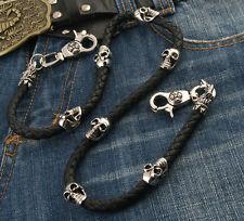 """Skull Leather String EMO Biker Trucker Key Jean Wallet Chain (29"""") Silver CS83"""