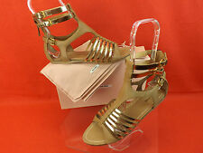 NIB MIU MIU PRADA CAMEL GOLD LEATHER BACK ZIP GLADIATOR FLATS SANDALS 35.5 5