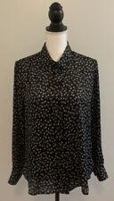 Equipment Femme Floral Black Top Blouse Shirt Button Front Women's Size M