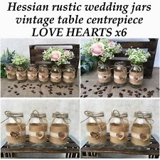 Hessian Wedding Glass Jars Table Centrepice Rustic Vintage Shabby Chic X6
