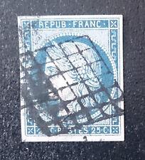 TIMBRE FRANCE CERES N°4 OBLITERE 25c bleu VALEUR 45 €