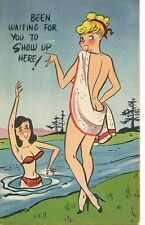 OLD postcard  humor RISQUE nude women bather skinny-dipping  early 1900's