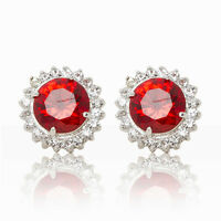FASHION WOMEN HALO ROUND RHODIUM PLATED RED CZ STONES STUD EARRINGS