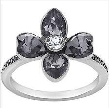 New Swarovski Bunch Black Crystal Flower Ring Size 8/ EUR 58 #5095319