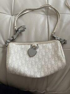 Auth Dior Romanique Baby Blue Bow Details Grey Heart Monogram Logo Bag