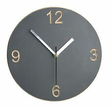 Wall clock - grey handmade painted wood carved with numbers