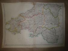 WAles SE Carmathen Glamorgan Cardigan Circ1863 map dispatch Atlas Framed 40 more