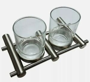 New Double Tumber Holder + 2 Glasses Bathroom Accessories Satin Stainless Steel