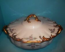 ANTIQUE LIMOGES FRANCE- H & Co FLORAL LIDDED TUREEN DOUBLE GOLD ca1888-1896 RARE