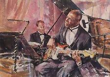 "RARO Originale GORDON King ""Blues Time"" CHITARRA JAZZ BAND dipinto ad Acquerello"