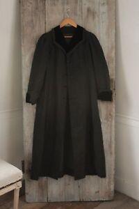 Long Coat or Jacket French Vintage woman's wool & velvet black 1930's overcoat
