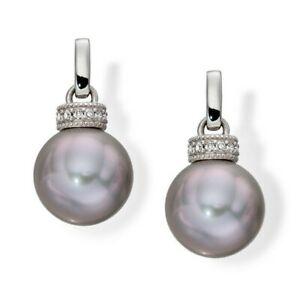 White Gold Round Grey Pearl & Diamond Rondelle Drop Earrings jewellery