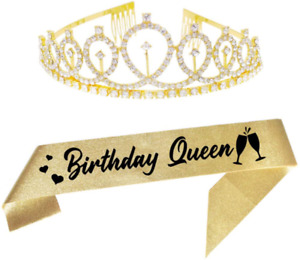 Birthday Queen Gold Crystal Tiara And Sash Happy Birthday Party Supplies Glitter