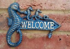 Blue Seahorse Welcome Sign Wall Plaque Cast Iron Garden Seaside Nautical New