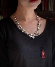Collier Perle Chaine Cristal Tourbillon Baroque Vintage Original Mariage AMN1