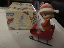 Enesco Country Cousins Sarah on sleigh ornament with box