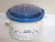 Rival 4 Quart Crock Pot Stoneware Slow Cooker 3154 Vintage Blue Floral Pattern