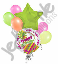 7 pc Colorful Neon Party Hat Happy Birthday Balloon Bouquet Decoration Lime Pink
